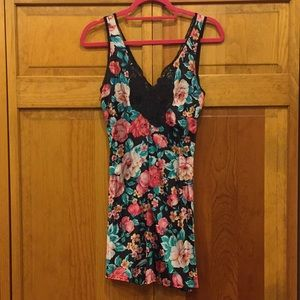 Floral Silk Slip with Lace V Cut
